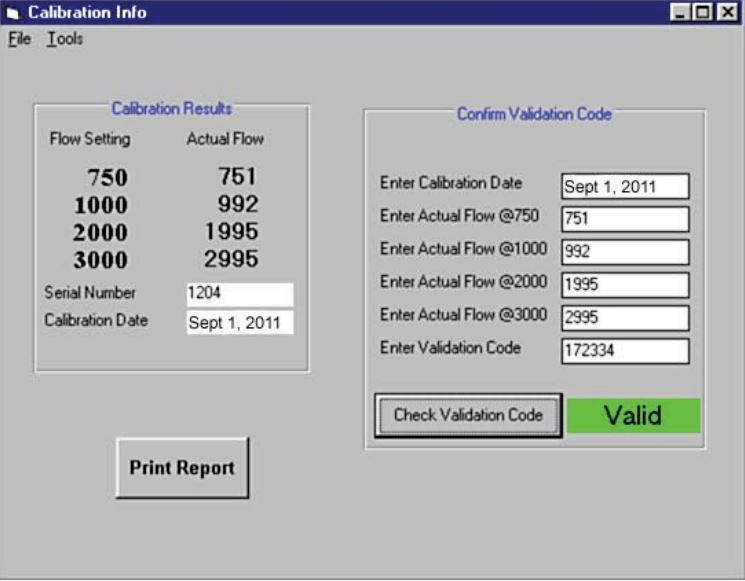 DataTrac Software - An Example of the Calibration Screen when calibrating a pump