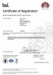 SKC Ltd ISO 9001:2015 Certificate. SKC has held ISO 9001 for over 20 years.