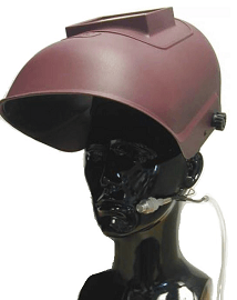 Sampling for airborne contaminants under a welding helmet