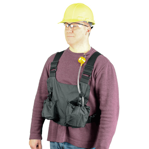 Personal Sampling Vest, holds pump(s), media and includes loops to retain tubing for ideal placement.