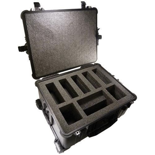 224-907 Pelican Hard-Sided Five Pump Case which is watertight, airtight, dustproof and crushproof. It has wheels for easy transport and a retractable handle for AirChek XR5000 pump